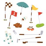 Golf icons hobby equipment cart player golfing sport symbol flag hole game elements vector illustration. Stock Photos