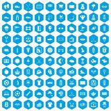 100 golf icons set blue. 100 golf icons set in blue hexagon isolated vector illustration Royalty Free Stock Photo