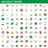 100 golf icons set, cartoon style. 100 golf icons set in cartoon style for any design illustration vector illustration