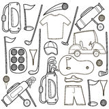 Golf icons set in cartoon style. Royalty Free Stock Photos