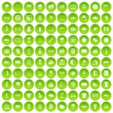 100 golf icons set green circle. Isolated on white background vector illustration Stock Images