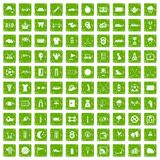 100 golf icons set grunge green Stock Images