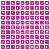 100 golf icons set grunge pink. 100 golf icons set in grunge style pink color isolated on white background vector illustration Stock Photos