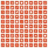 100 golf icons set grunge orange. 100 golf icons set in grunge style orange color isolated on white background vector illustration stock illustration