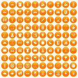 100 golf icons set orange. 100 golf icons set in orange circle isolated on white vector illustration royalty free illustration