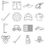 Golf icons set, outline style Stock Photos