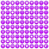 100 golf icons set purple. 100 golf icons set in purple circle isolated on white vector illustration vector illustration