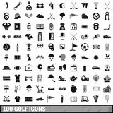 100 golf icons set, simple style. 100 golf icons set in simple style for any design vector illustration Royalty Free Stock Photos