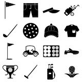 Golf icons set, simple style Royalty Free Stock Photos