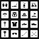 Golf icons set symbols, simple style Stock Images