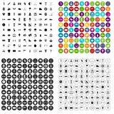 100 golf icons set variant. 100 golf icons set in 4 variant for any web design isolated on white stock illustration
