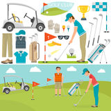 Golf icons vector and player Royalty Free Stock Photo