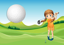 Golf. Illustration of a girl playing golf in the court Stock Photos