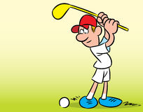 Golf. The illustration shows a man on a green lawn, who plays golf. Illustration done in cartoon style, there is a place for the text block Stock Photos