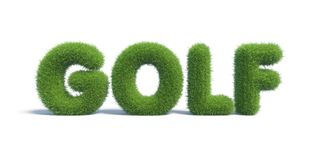 Golf of the inscription of green grass in the form Stock Photo