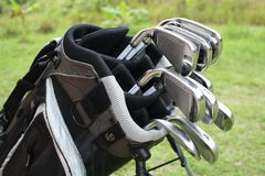Golf irons in the bag. Golf steel iron clubs or steel wedges in a golf bag stock photography