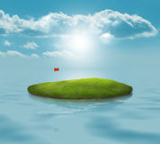 Golf Island. Golf Green in the middle of the ocean with bright blue sky Stock Photos