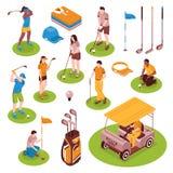 Golf Isometric Icons Set Royalty Free Stock Images