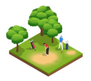 Golf Isometric Top View Composition Royalty Free Stock Photography
