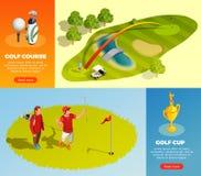Golf Isometrische Horizontale Banners stock illustratie