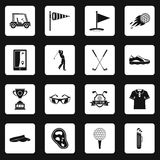 Golf items icons set squares vector. Golf items icons set in white squares on black background simple style vector illustration Stock Images