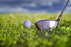 Golf kicker play. Golf bat with kicker bat close up Royalty Free Stock Photos