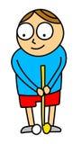 Golf kid. Cartoon style illustration of little kid playing mini golf - isolated on white background Stock Photo