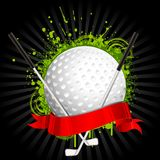 Golf kit. Illustration of golf ball and stick wrapped in ribbon on grungy floral background Royalty Free Stock Photos