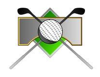 Golf la cresta con el club y la bola Foto de archivo libre de regalías