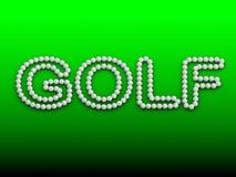 GOLF la palabra con la pelota de golf en fondo verde Fotografía de archivo libre de regalías