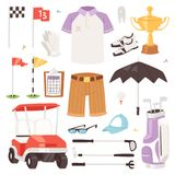 Golf la ropa de deportes y la pelota de golf de los golfistas del vector para jugar en el sistema del ejemplo del golfclub de rop Fotografía de archivo