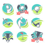 Golf Labels Collection with Equipments and Prizes Stock Images