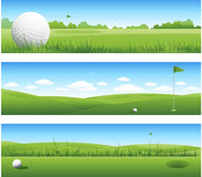 Golf landscape illustration banners Royalty Free Stock Images