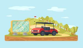 Golf landscape with stand map and golf cart. Sport background.
