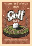 Golf league sport cup championship. Golf club, championship game or sport team and players league. Vector retro vintage design of golf ball on tee hole in royalty free illustration