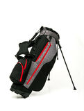 Golf Leather Stand Bag on White Background. Golf Leather Stand Bag, Black and Gray Color with Red Trimmings on White Background Royalty Free Stock Photography
