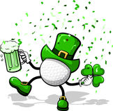 Golf Leprechaun. A golf ball leprechaun celebrating St. Patrick's Day by dancing with a three leave clover, green beer, and confetti Stock Image
