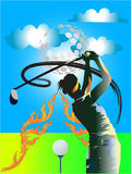 Golf Little swing. Golf, golf swing under the big beautiful green, the sky is bright, the beautiful white clouds Stock Image