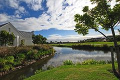 Golf living. Water feature on golf course in Western Cape, South Afruca Stock Image