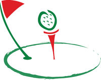 Golf Logo. An Abstract Golf Logo In Red & Green Royalty Free Stock Image