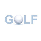 Golf Logo Concept. With Vector Photo Realistic Illustration Of White Golf Ball Royalty Free Stock Photography