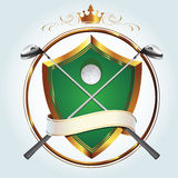Golf logo. Premium golf club vector logo with gold embellishments Royalty Free Stock Images