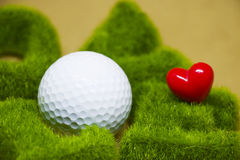 Golf with love letter on white background Royalty Free Stock Photography