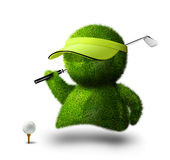 Golf man. Cute green person playing golf Stock Photography