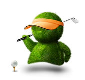 Golf man. Cute green person playing golf Royalty Free Stock Images