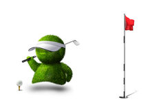 Golf man. Cute green person playing golf Stock Photo