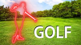 Golf 001 Man Playing Silhuette. Red Neon - Green Background stock illustration