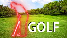 Golf 002 Man Playing Silhuette. Red Neon - Green Background royalty free illustration