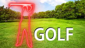 Golf 004 Man Playing Silhuette. Red Neon - Green Background royalty free illustration