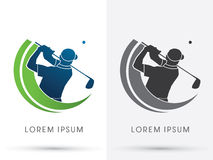 Golf. Man swinging golf , Golf players club, graphic Stock Photography